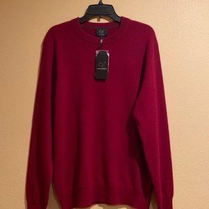 Qi Cashmere Men's Red 100% Cashmere Sweater